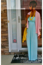 yellow bag - light blue bandeau top dress - bubble gum loose and flowy cardigan