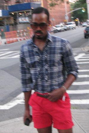 brown American Apparel sunglasses - blue Nara Camicie shirt - brown Express belt