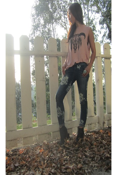 1 Vintage Soul top - Jeffrey Campbell boots - free people jeans