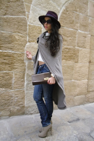 Zara hat - gift boots - from Florence sweater - Mango bag - moms cape