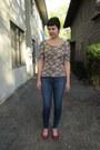Blue-j-brand-jeans-pink-forever-21-top-red-aldo-flats
