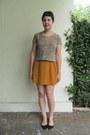 Camel-thrifted-top-mustard-forever-21-skirt-black-aldo-flats