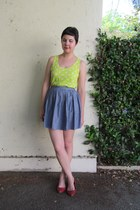 chartreuse cotton on top - navy American Apparel skirt - ruby red Mia flats