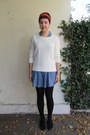 Black-target-tights-blue-forever-21-dress-white-forever-21-sweater