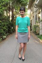 heather gray thrifted skirt - aquamarine thrifted vintage sweater