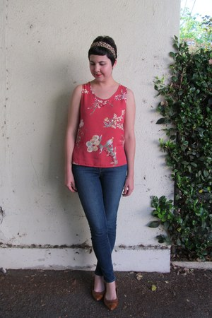 ruby red thrifted vintage top - blue J Brand jeans