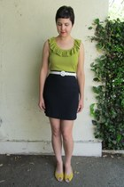 chartreuse thrifted target top - white thrifted Axiom belt