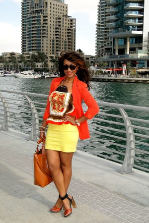 tawny Zara shoes - carrot orange 2NU jacket - light yellow H&amp;M skirt