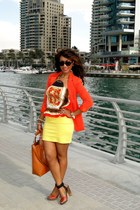 tawny Zara shoes - carrot orange 2NU jacket - light yellow H&M skirt