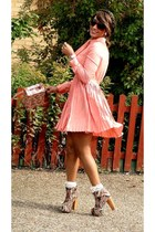 maroon lace-up booties 2NU boots - peach pleated 2NU dress