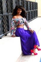 deep purple new look skirt - turquoise blue 2NU top - hot pink 2NU heels