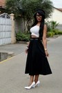 White-primark-top-black-2nu-skirt-white-2nu-heels