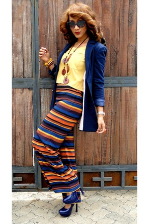 navy 2NU blazer - mustard 2NU top - burnt orange Zara pants