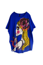 Colorful Beaded Lady Head Print Tee