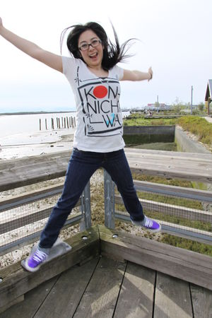 white Truly Madlly Deeply t-shirt - blue Hurley jeans - purple Puma shoes