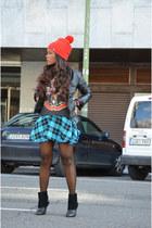 black BLANCO jacket - red H&M shirt - sky blue BLANCO skirt