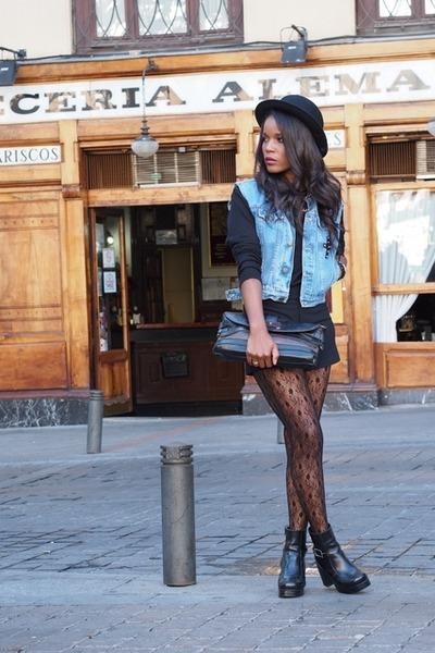 vintage boots - Zara shorts - Mango t-shirt - levis  customize vest