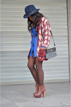 brick red Lefties cardigan - maroon maripaz boots - blue Mulaya dress