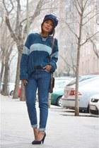 navy Bershka shoes - navy Mango jeans - sky blue el corte ingles sweater