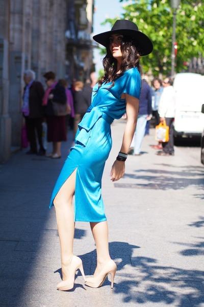 sky blue vintage dress - peach Topshop shoes - black H&M hat