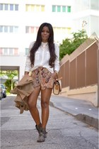 camel fama bag - tawny c&a shorts - white Bel Air blouse