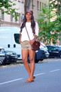 Dark-brown-hermes-bag-olive-green-zara-shorts-ivory-uterque-skirt
