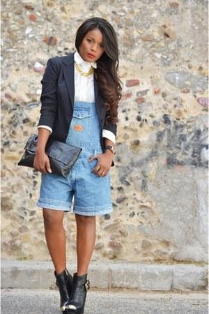 black Zara blazer - sky blue vintage pants
