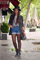 black Massimo Dutti blazer - heather gray Chanel bag - sky blue Levis shorts