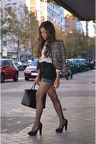 black Mango shoes - charcoal gray pull&bear jacket - dark gray Mango bag