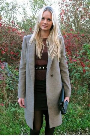 tan Zara coat - black Zara bag - crimson H&M top - black H&M skirt