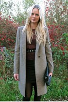 tan Zara coat - black Zara bag - crimson H&M top - black H&M skirt