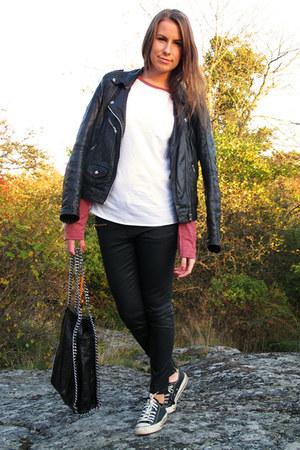 black Converse shoes - black leather Rocknblue jacket - black chain Scorette bag