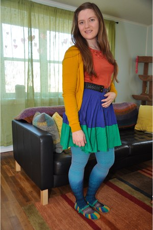 blue modcloth skirt - sky blue Urban Outfitters stockings - mustard H&amp;M cardigan