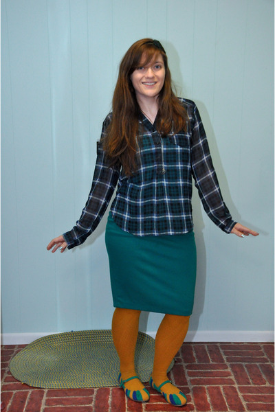 teal Target skirt - navy modcloth shirt - mustard H&M stockings