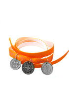Orange wristbank- sea themed coin pendants