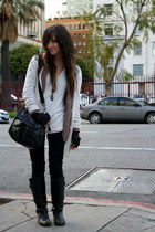 Forever21 sweater - knit BB Dakota sweater - riding Frye boots