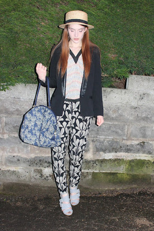 Marni top - H&amp;M hat - River Island blazer - navy TK Maxx bag - Topshop heels