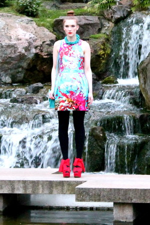 red wedges Topshop shoes - turquoise blue aquatic dress dress