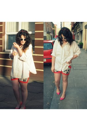 red Sugarlips shorts - white vintage shirt - dark brown Topshop accessories
