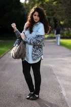 gray faux fur next bag - charcoal gray Penneys sweater - teal Denim Co shirt