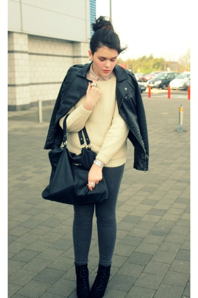 black Penneys jacket - cream wool Sheinside sweater - eggshell H&M shirt