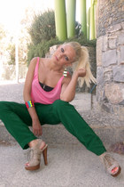 pink Bershka blouse - green Zara pants - beige Mango heels