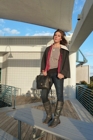heather gray Forever 21 sweater - gray cape coat - navy jeans - olive green boot