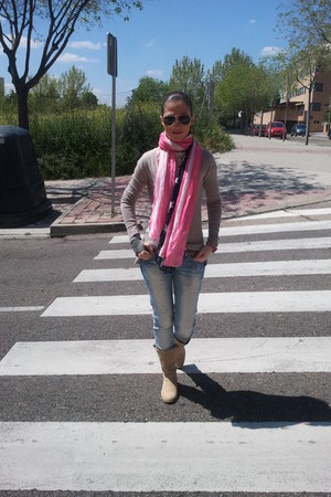 bubble gum scarf - beige boots - sky blue jeans - white shirt - tan cardigan
