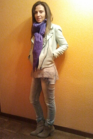 boots - jeans - jacket - scarf - jumper