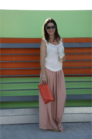 light pink maxi skirt Bershka skirt - coral Zara bag - camel suiteblanco sandals