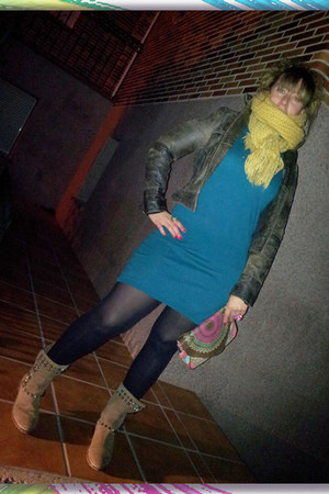 Zara boots - Tienda local dress - Promod blazer - desigual bag