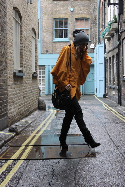 yellow H&M coat - black Zara boots - black lindex bag - gray H&M pants