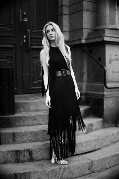 black fringe dress H&M dress - white Alexander Wang sandals