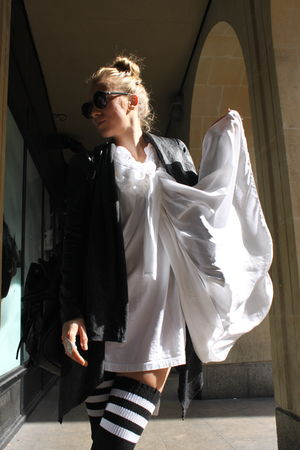 black Oasis jacket - white Pleasure Principle dress - black asos bag